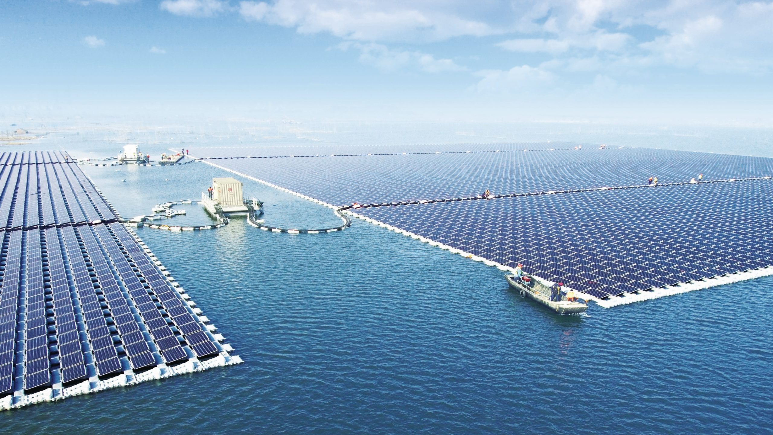 Sungrow Power Supply Co has said the largest floating PV power plant with a capacity of 40MW had been grid connected on former flooded coal mining region in Huainan, south Anhui province, China. Image: Sungrow