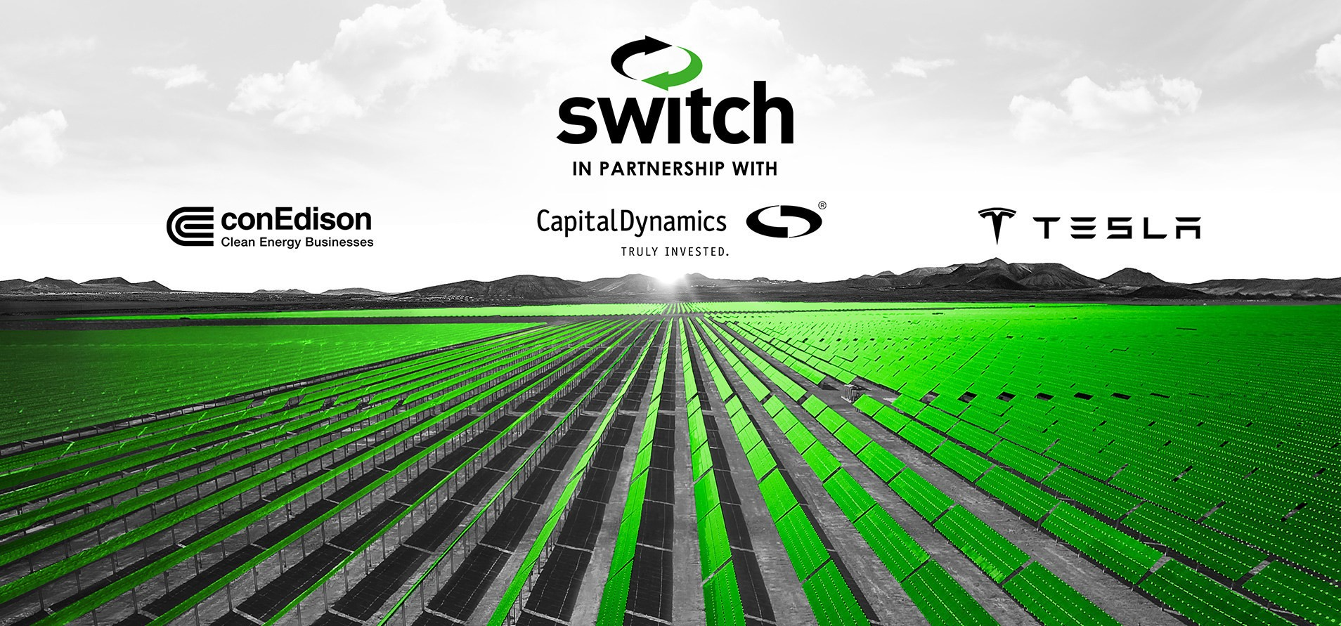 Alongside panels made by First Solar, the facilities will feature Tesla Megapacks. Image: Switch and Capital Dynamics.