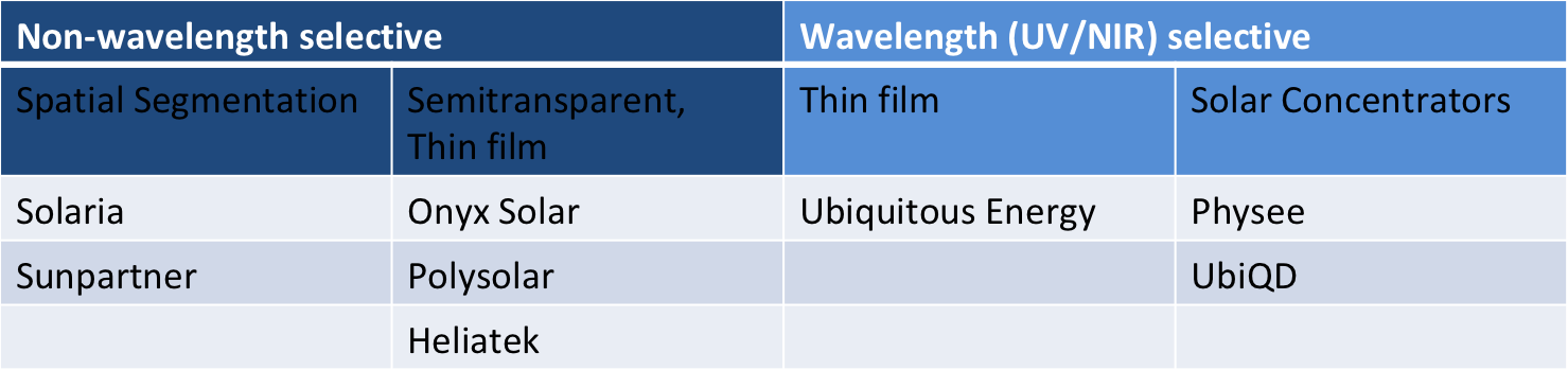 Sample of companies commercializing TPV segmented by technology.