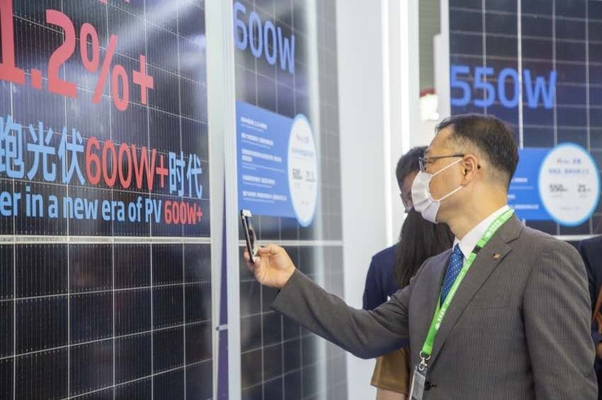 Trina Solar's new Vertex series on display at SNEC earlier this year. Image: Trina Solar.