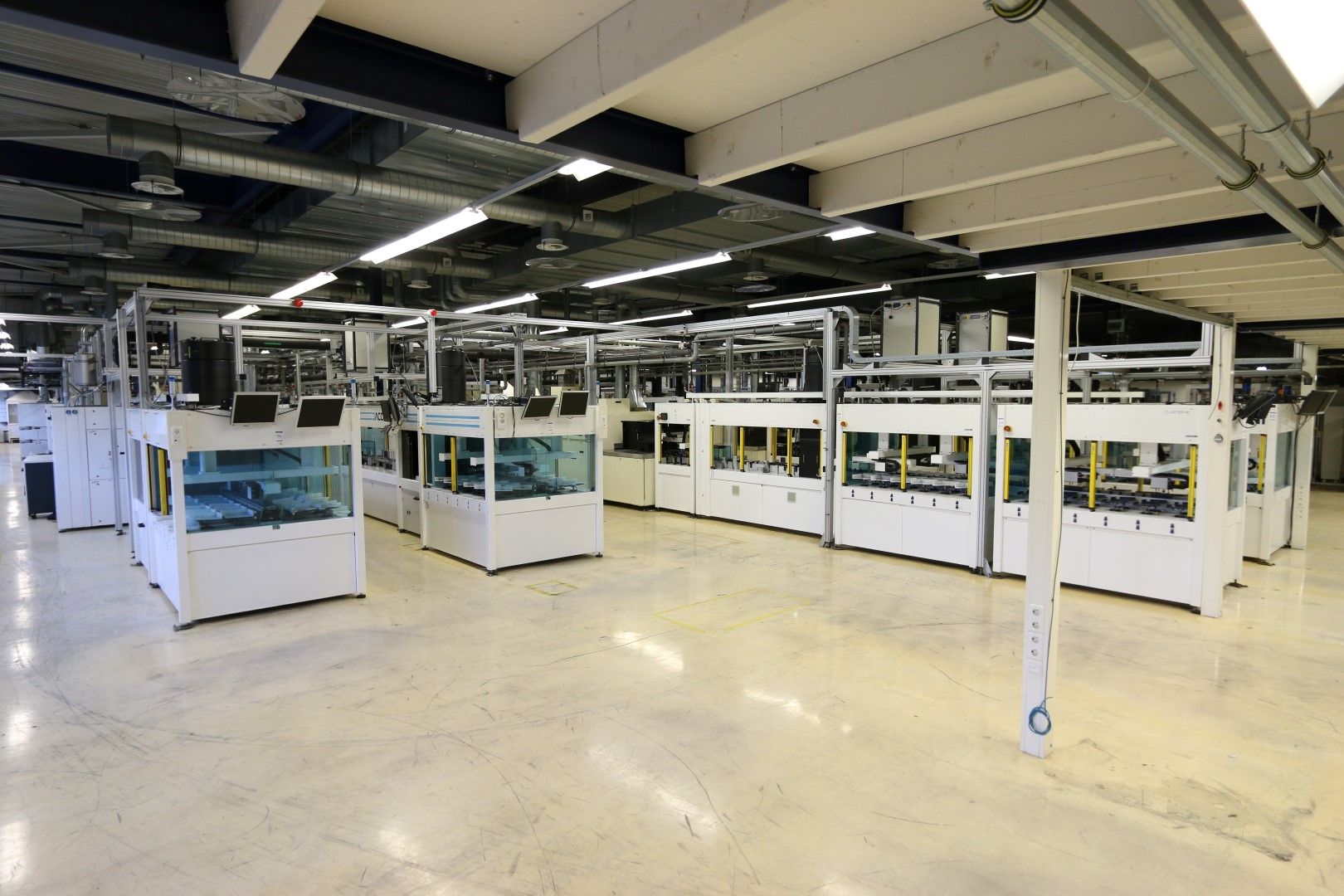 The solar cell plant was seen as being an advanced facility with a suite of leading-edge processing equipment at the time, which included screen printing tools capable of 5 busbars from Baccini, through to Innolas MWT laser processing workstation and a Schmid wafer texturing line.