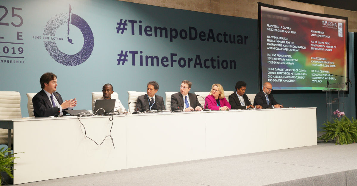 The UN and IRENA showcased their joint initiative to improve Paris Agreement NDCs at the COP25 summit in Madrid this week. Image credit; IRENA