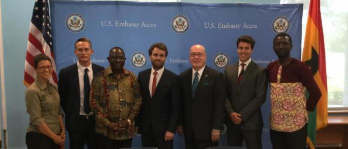 USTDA, Buipe Solar and WSP Parsons Brinckerhoff representatives at the signing last week. Source: US Trade and Development Agency