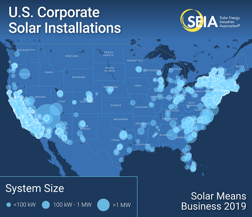California, New York and Massachusetts lead the US for commercial solar installations. Image: SEIA.