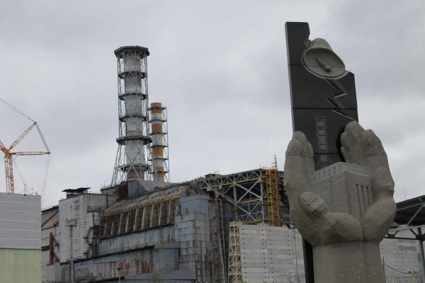 A memorial marks the events of April 26 1986, when a systems test in Chernobyl's reactor four went wrong and caused an explosion and fire, sending plumes of radioactive smoke over large areas of the western Soviet Union and Europe.
