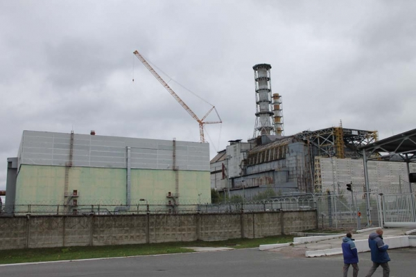 All that remains of the damaged reactor is the concrete sarcophagus, built shortly after the disaster to contain the radioactive waste.