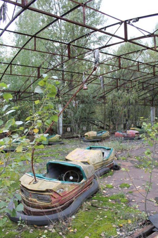 Dodgem cars, seemingly abandoned mid-ride.