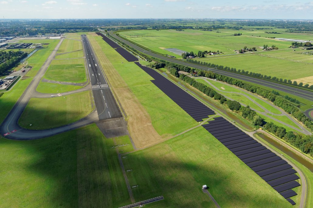 Unisun Energy is also preparing to start another 16MW utility-scale solar power plant along the runway of Rotterdam Airport. Image: Unisun Energy