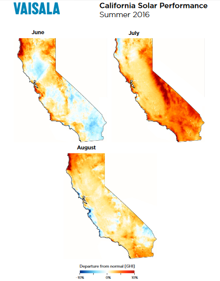 These California Solar Performance Maps show departures from average solar irradiance in GHI (or Global Horizontal Irradiance, the key variable for PV projects) and highlight the effects of recent wildfires. Vaisala conducted the study by comparing 2016 data with long-term averaged values from its continually updated global solar dataset. Credit: Vaisala