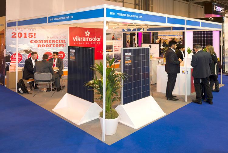 Vikram Solar at the Solar Energy UK show in 2014. Image: Solar Media.
