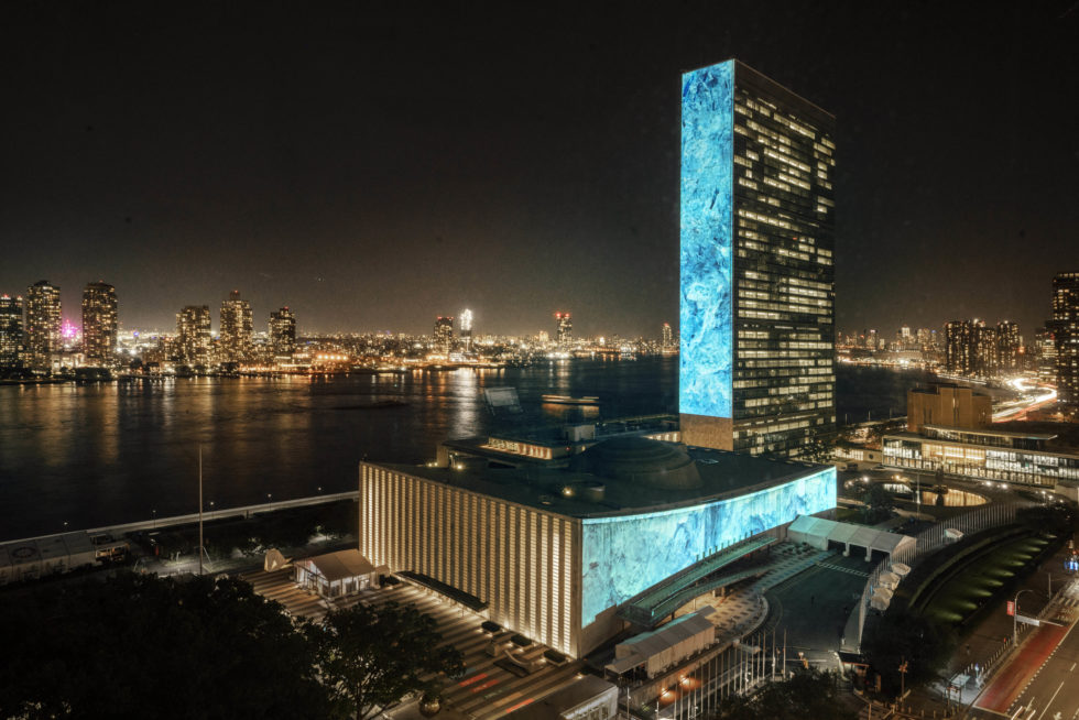 An art installation by artist Joseph Michael and environmental charity Project Pressure lights up United Nations buildings on September 20 to mark Climate Week. Source: Project Pressure