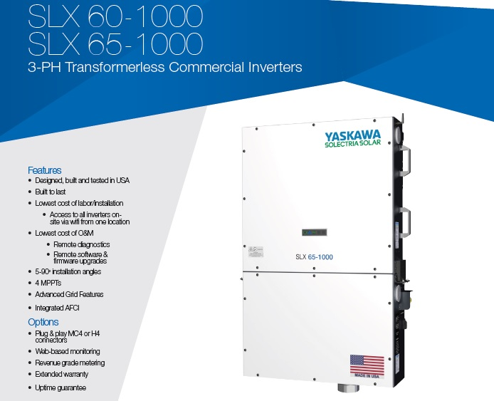 The SLX 1000 inverters are offered in 60 and 65 kilowatt (kW) power levels and the SLX 1500 inverters are offered in 125 and 166 kilowatt (kW) power levels. Image: Yaskawa Solectria Solar