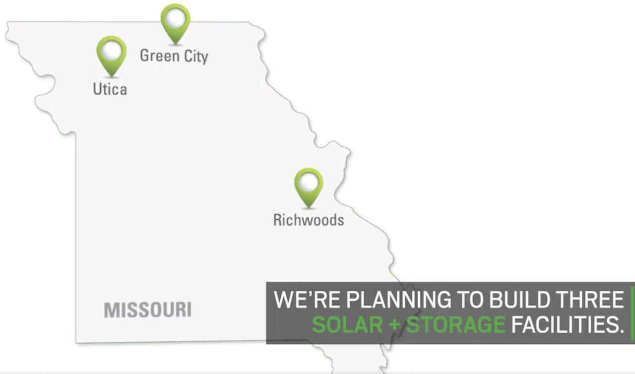 The three planned solar-plus-storage facilities, each to be of 10MW generation capacity. Image: Ameren Missouri promo video screenshot via Twitter.