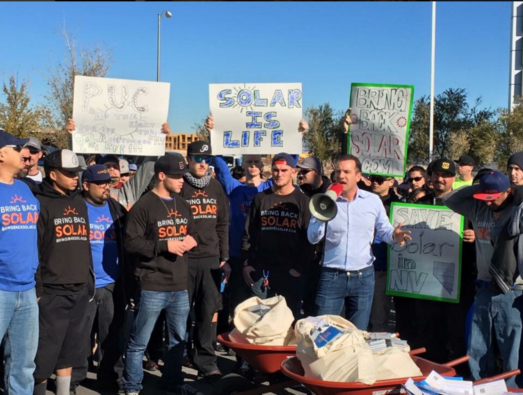 Bring Back Solar supporters during a NPUC decision protest in February 2016. Source: Nevadacarry.org