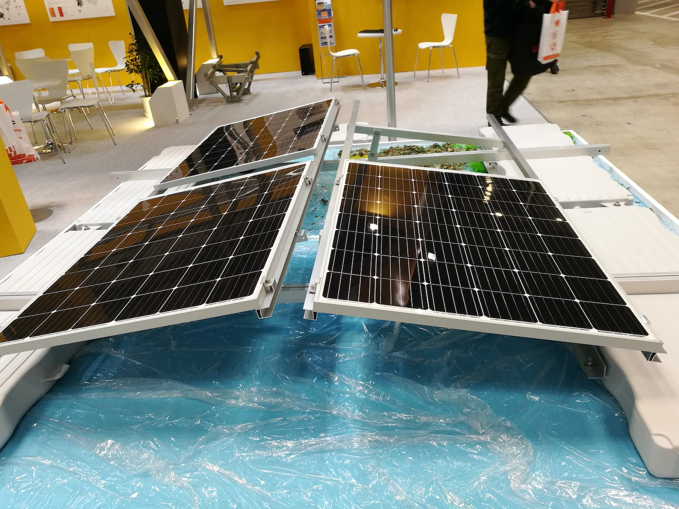 Floating solar solution at Clenergy's booth. All images: Andy Colthorpe / Solar Media.