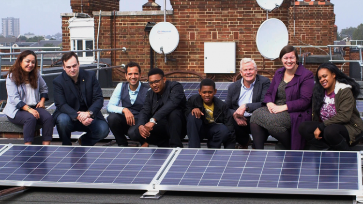 The rooftop solar was installed on the Hackney apartment blocks in 2015. Image: Repowering London.