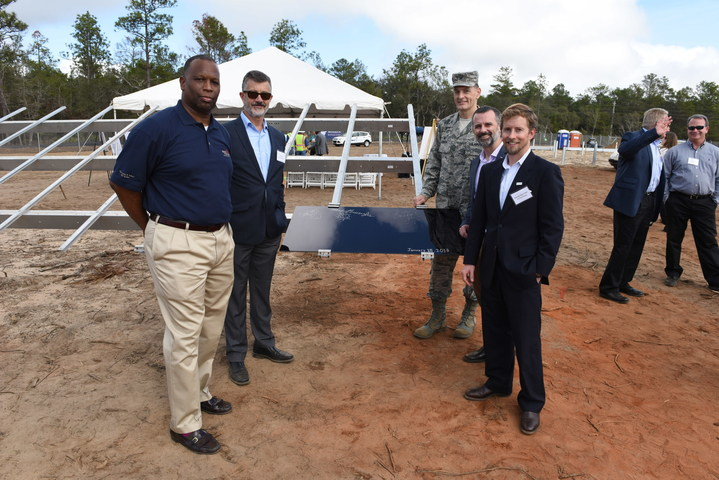 Coronal Energy's Ed Feo and Michael Burroughs with Colonel Johnson, Panasonic's Pete Bronski and Coronal Energy's Danny Van Clief at the ceremony at Eglin Air Force Base. Source: Coronal Energy.