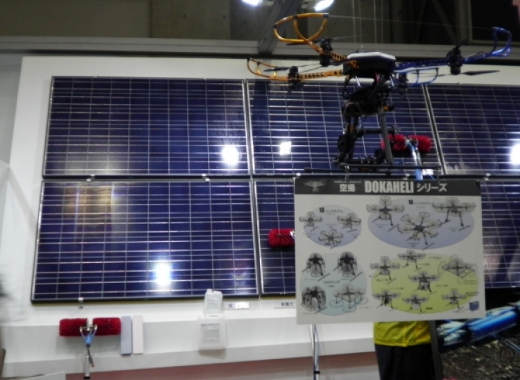 Drones and remote controlled helicopters for large-scale PV plant O&M at last year's show. Image: Andy Colthorpe.