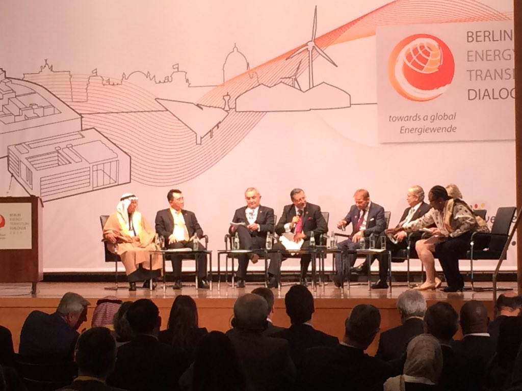 Ministerial panel at the Berlin Energy Transition Dialogue 2016, with Ali bin Ibrahim Al-Naimi seated on far right. Image: BETD twitter.