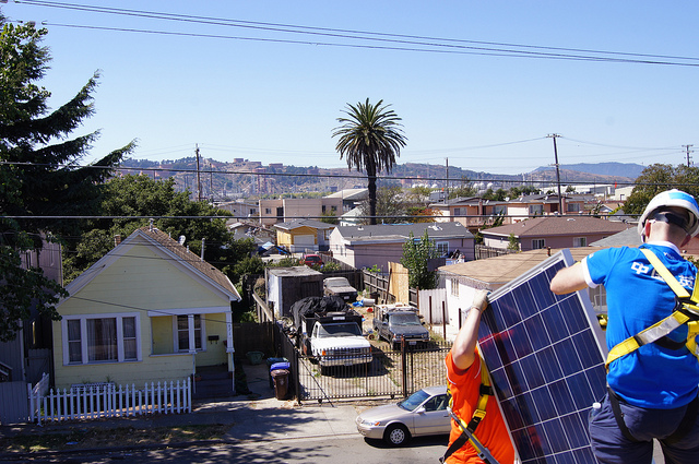Community solar can allow low income households, as well as homeowners with shared rooftops, such as on apartment blocks, to benefit from PV. Images: GRID Alternatives.
