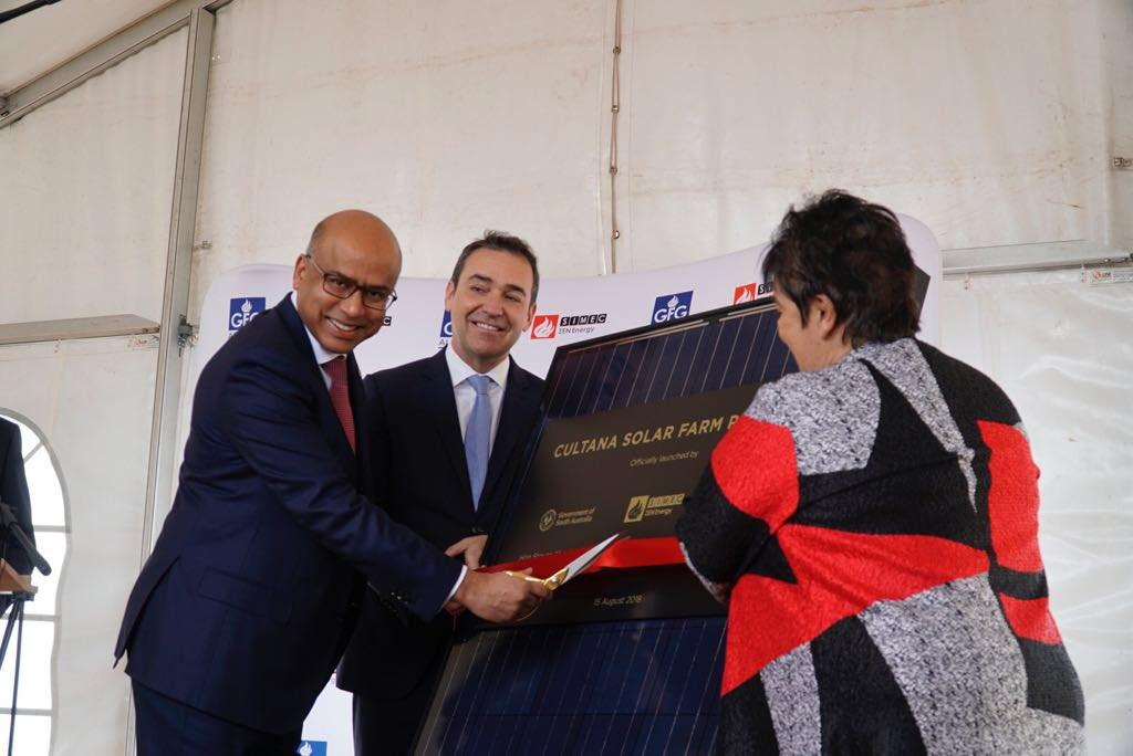 ZEN Energy's Sanjeev Gupta (left) and S Australia Premier Steven Marshall (centre) cut the ribbon to inaugurate Cultana, a 280MW PV project in South Australia.