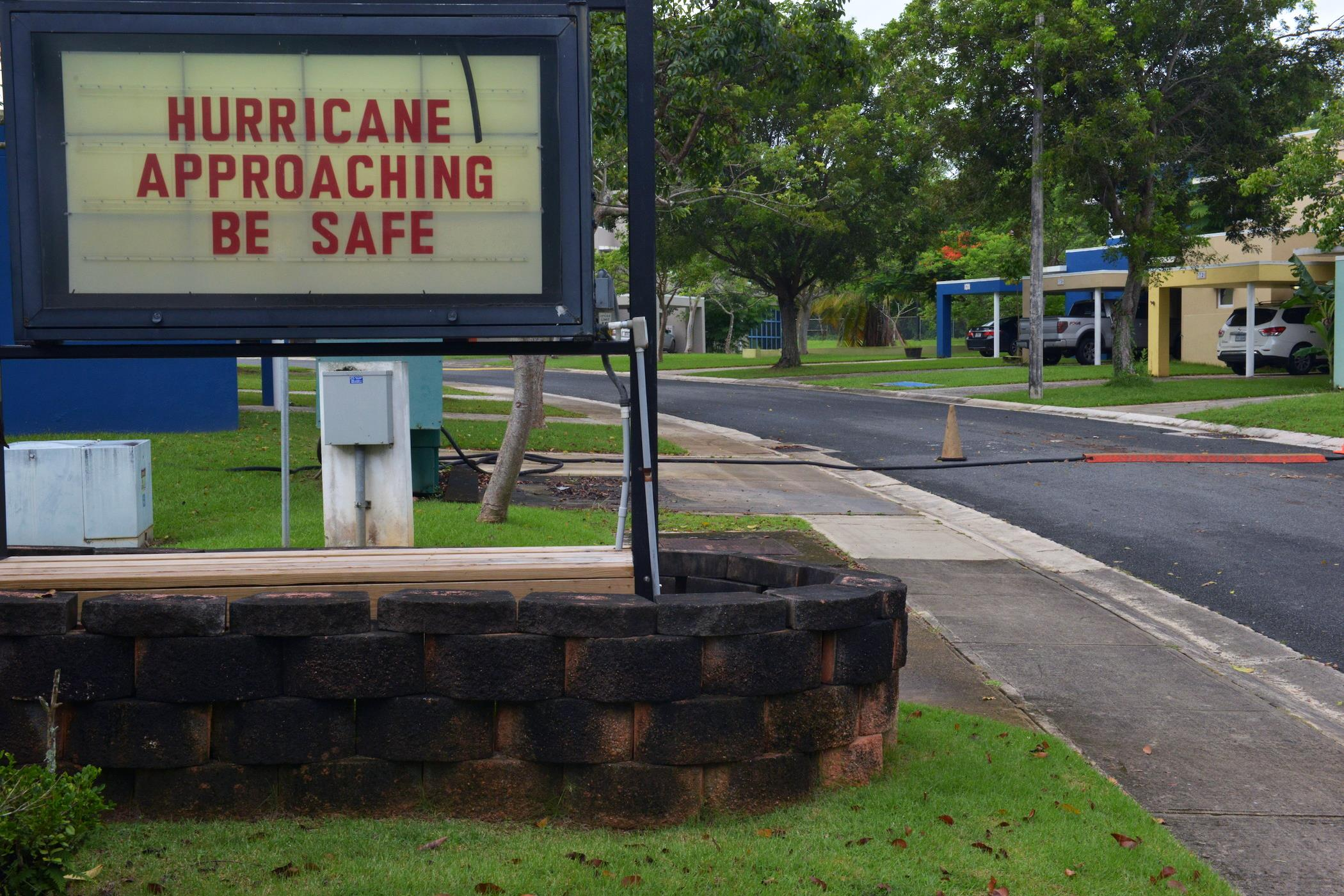 A sign warns of the coming Hurricane Irma at Coast Guard Sector San Juan, Puerto Rico, on 6 September 2017. Image: U.S. Coast Guard photo by Petty Officer 2nd Class Jonathan Lally.