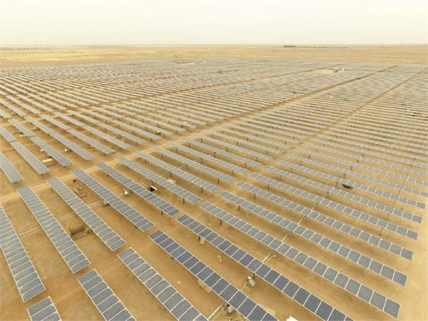 The Ghadir plant, which took seven months to construct, includes 39,000 solar panels and a number of trackers. Credit: SATBA