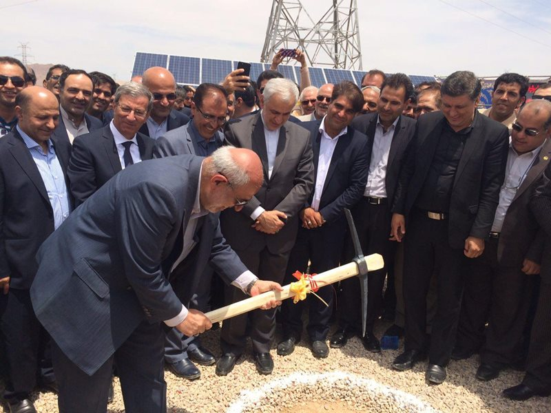 Energy minister Hamid Chitchian breaks ground on the project. Image credit: SATBA.