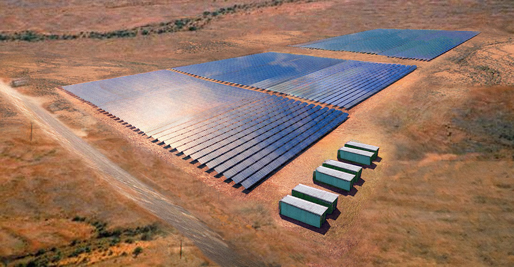 A large-scale solar-storage project in SOuth Australia developed by Leon Group and Kingfisher. Image: Lyon Group/Kingfisher.