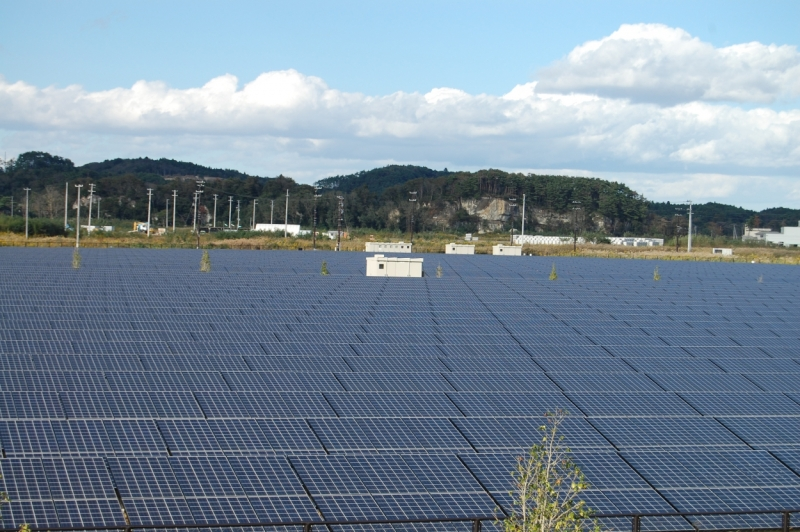 Solar farm in a region badly hit by the 2011 tsunami and earthquake, built not long after the event. It would be wrong to assume Japan's appetite for solar has waned, Kaizuka said. Image: Andy Colthorpe.