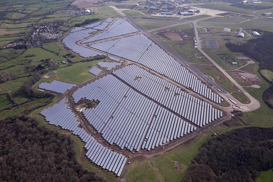 The Bradenstoke solar farm on the site of RAF Lyneham, currently the largest PV project in the UK. Source: BSR
