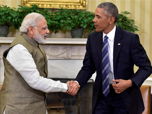 Prime minister Narenda Modi with president Obama in the Oval Office at the White House on Tuesday. Source: PTI
