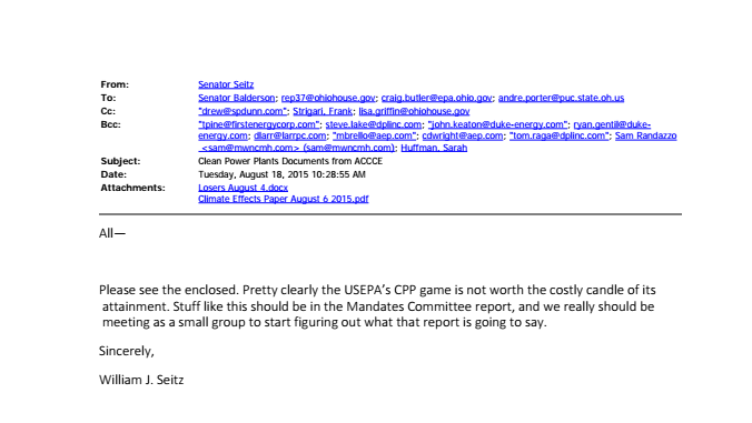 Seitz' email – which was sent to lobbyists for American Electric Power, Dayton Power & Light, Duke Energy and First Energy – was obtained via public information requests to state legislators who served on the EMSC committee. Source: Energy and Policy Institute