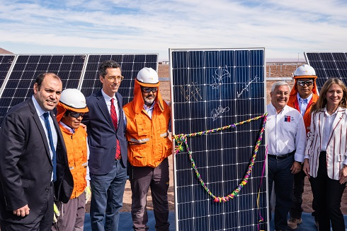 Minister Jiménez (first from the right) recently visited Solarpack's 123MW La Granja in Atacama (Credit: Solarpack)