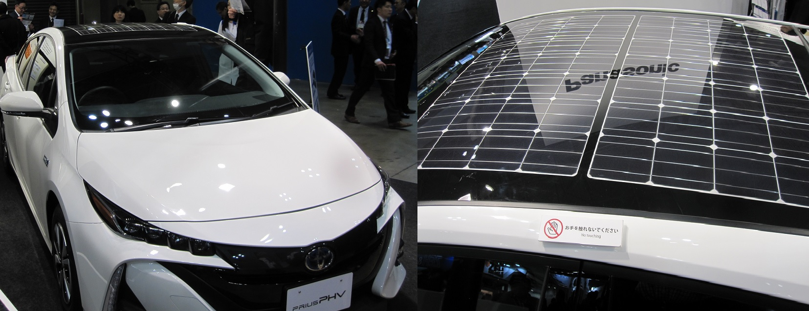 Panasonic's stand featured a Toyota Prius petrol-EV hybrid with 180w of solar on its roof.
