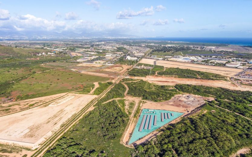 Artist rendering of Plus Power's Kapolei Energy Storage (KES) project, one of 16 to be contracted by Hawaiian Electric in mid-May. Image credit: Plus Power