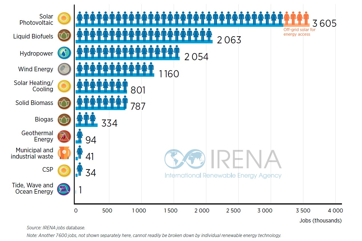 China remains by far and large the world's top PV employer despite job losses last year (Source: IRENA)