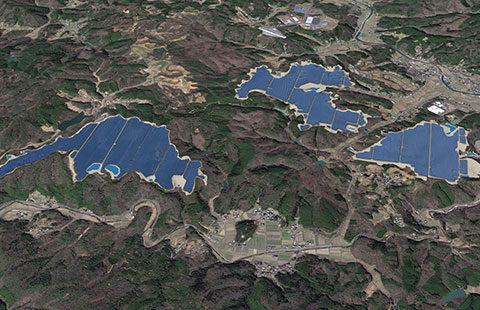 A rendering of the 257.7MW solar PV plant on land that was proposed for a golf course. Credit: Pacifico