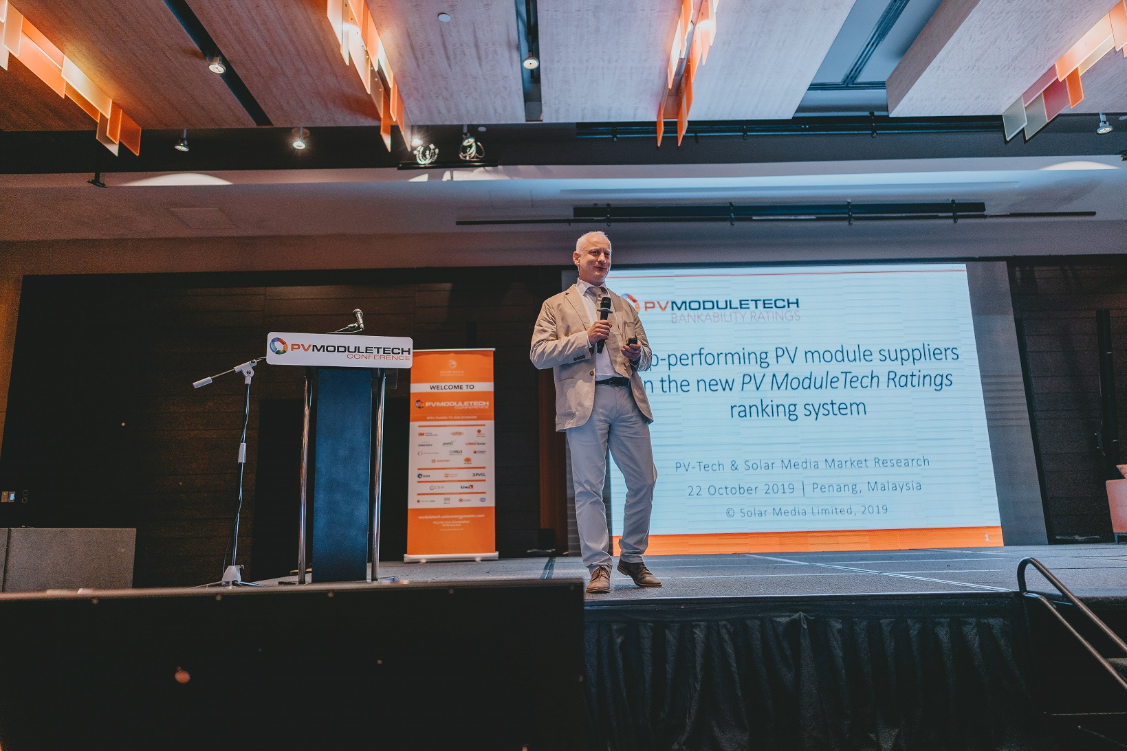 PV Tech's Head of Market Research Finlay Colville went on stage on Tuesday morning to introduce the PV ModuleTech Bankability Ratings, the result of five years' worth of exhaustive data collection and module market research. Image credit: Solar Media