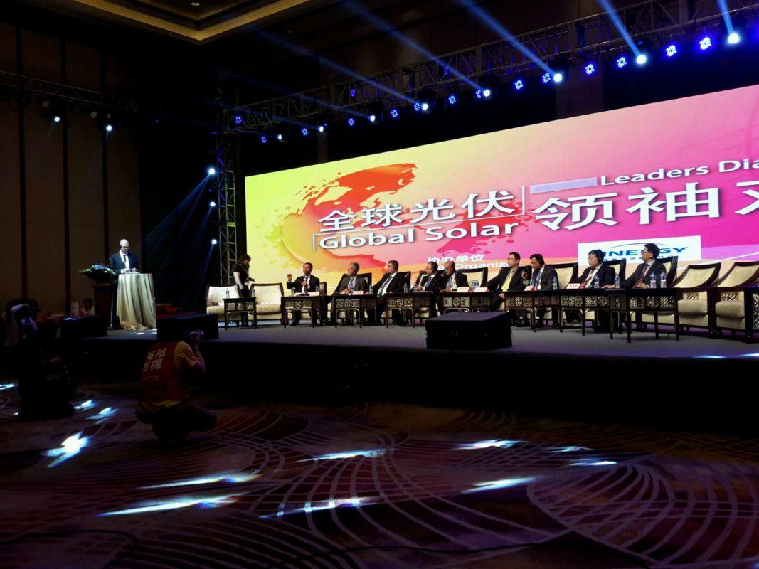 The Solar Leaders debate at SNEC 2016 with Jifan Gao speaking. Credit: David Owen