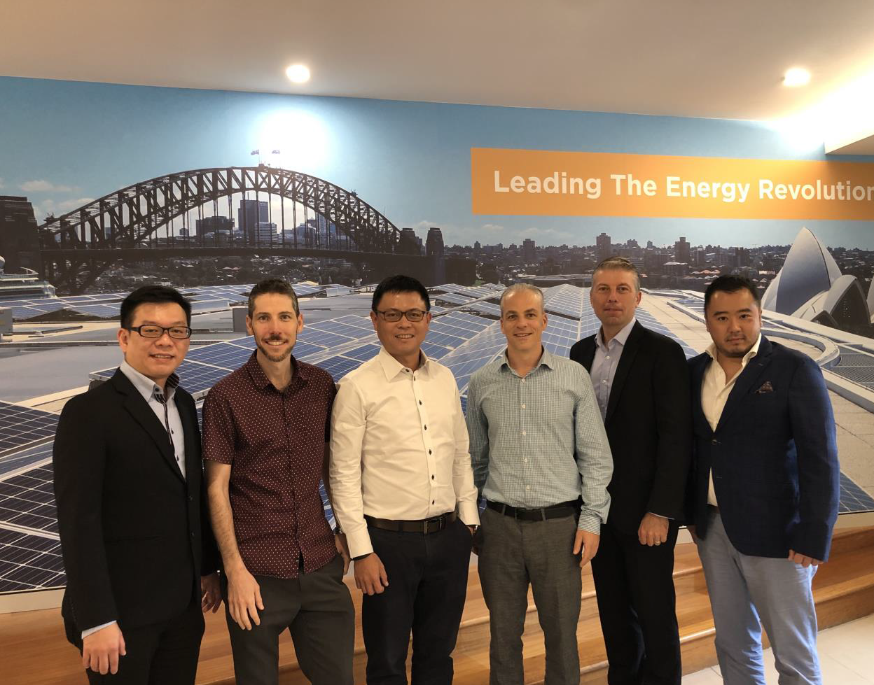From Left: Keith Lim (CFO, Sunseap Group), Tirone Kahn (COO, Todae Solar), Lawrence Wu (Co-Founder and President, Sunseap Group), Danin Kahn (CEO, Todae Solar), Claude Von Arx (Director, Oceania, Sunseap Group), Frank Phuan (CoFounder and CEO, Sunseap Group). Credit: Sunseap