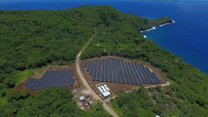 The 1.4MW solar installation on Ta'u, American Samoa. Image: SolarCity.