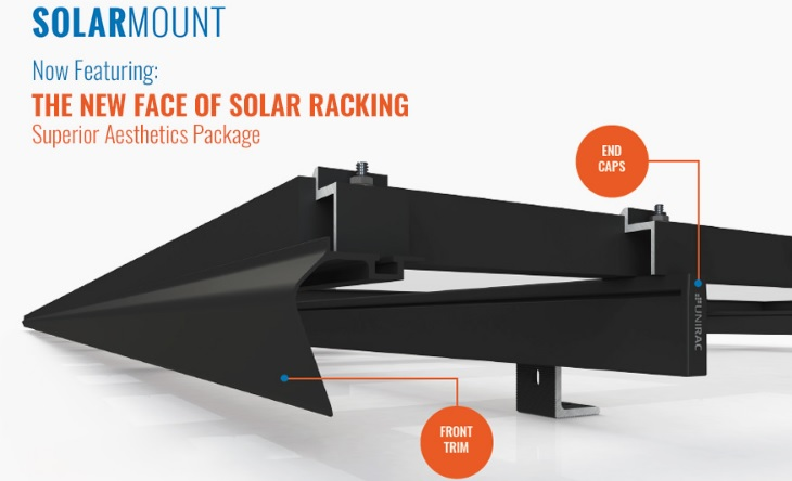 Unirac's 'SOLARMOUNT' has been enhanced with a superior aesthetics package, which includes front trim and end caps.