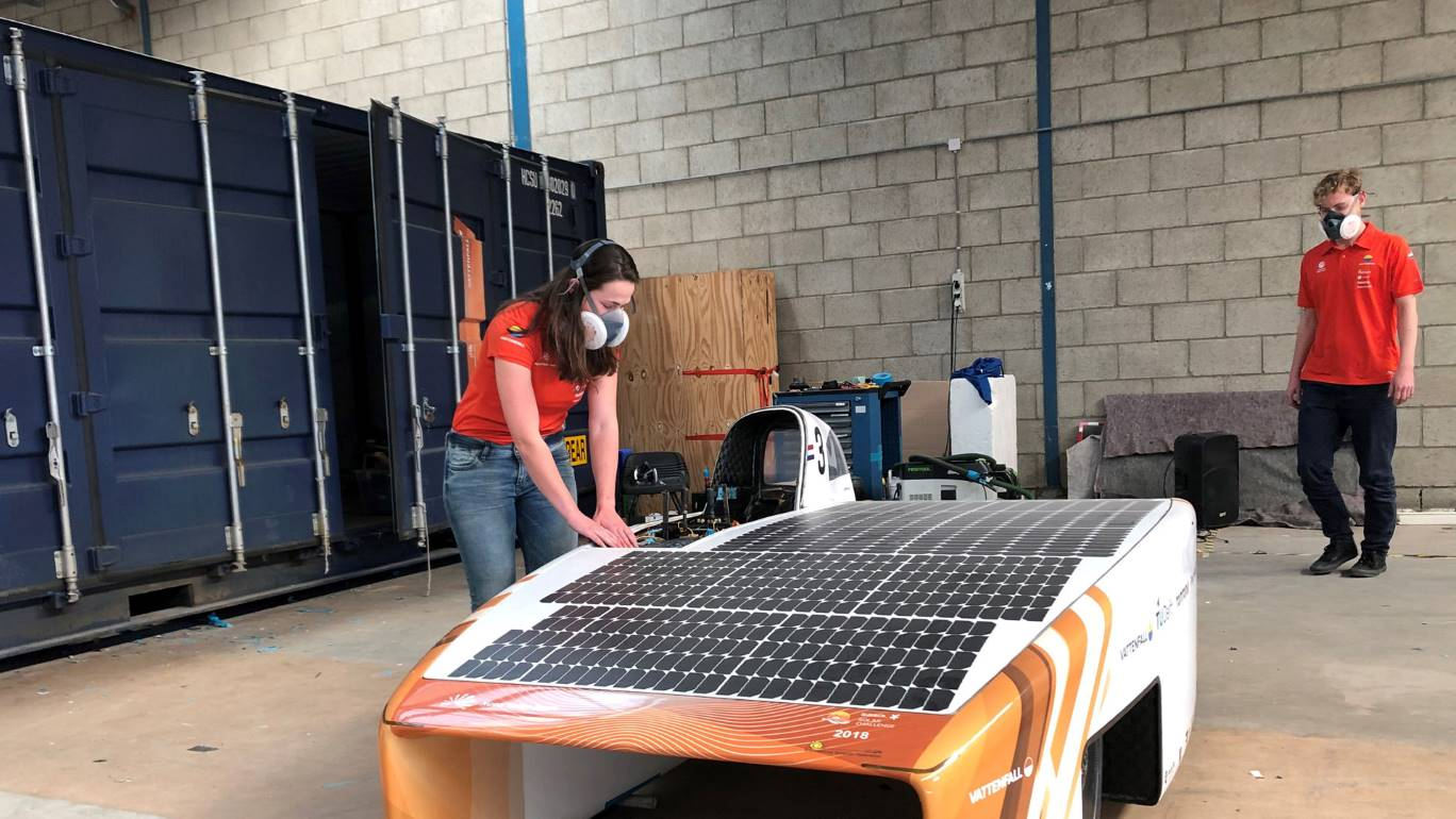 The COVID-19 emergency has created 'enormous challenges' for the students working to finish the solar car in time for the US race, Vattenfall said. Image credit: Vattenfall