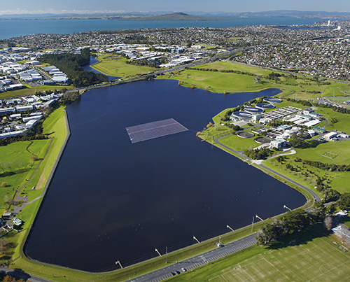 Artist impression of the floating PV scheme at Rosedale wastewater treatment plant (Image credit: Vector Group)