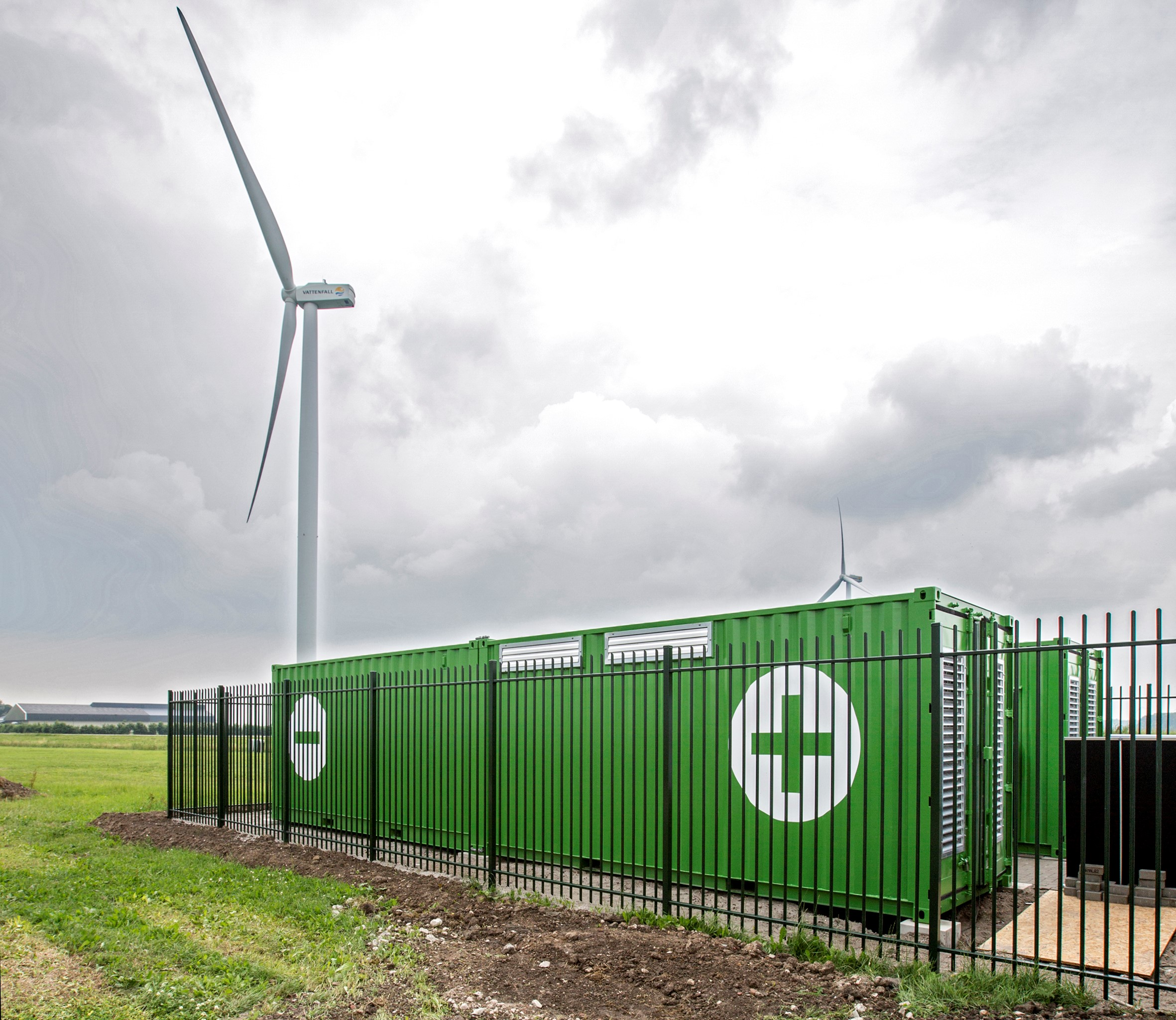 A wind and energy storage installation in the Netherlands. Credit: Alfen