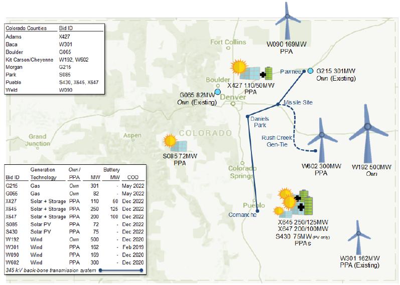 Preferred generation locations for the Colorado Energy Plan Portfolio. Image: Xcel Energy.